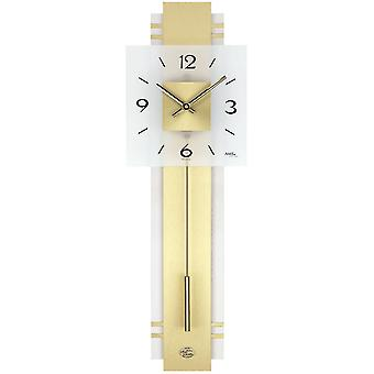Wall clock modern square wall clock in brass wood rear wall Crystal white