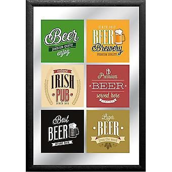 Premium beer mirror multicolored, printed with black plastic frame in wood.