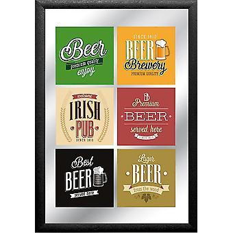 Premium Beer Spiegel  bunt, bedruckt, mit schwarzem Kunststoffrahmen in Holzoptik.