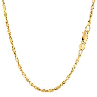 Collar de cadena de la Singapur de oro amarillo de 14 k, 2,1 mm