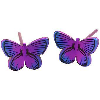 Pendientes del perno prisionero de Ti2 titanio bosque mariposa pequeña - Rosa