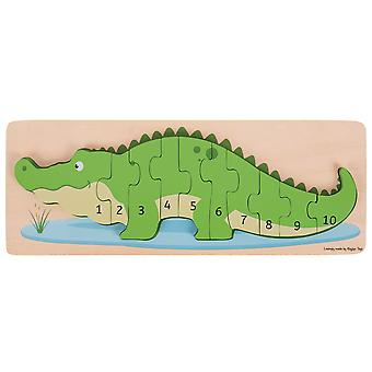 Bigjigs Toys Wooden Crocodile Number Puzzle Jigsaw Numbers Educational Learn