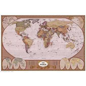 Map of the World (mollweide projection) Poster Print (36 x 24)