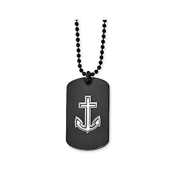 Mens Dog Tag Anchor Pendant Necklace in Stainless Steel with Chain