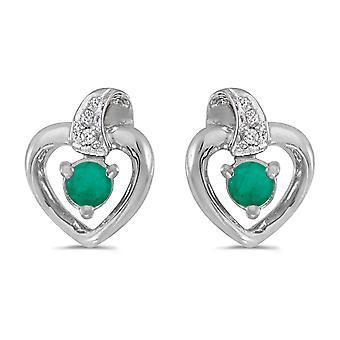LXR 14k Weißgold Rund Smaragd und Diamant Herz Ohrringe 0.18 ct