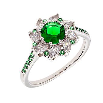 Bertha Juliet Collection Women's 18k WG Plated Green Flower Fashion Ring Size 7