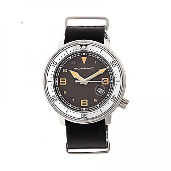 Morphic M58 Series Nato Leather-Band Watch w/ Date - Silver/Black