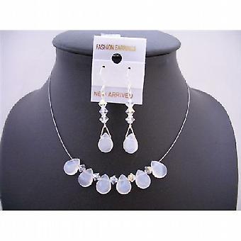 Opal Teardrop Glass Beads Swarovski AB Crystals w/ Silver 925 Earrings