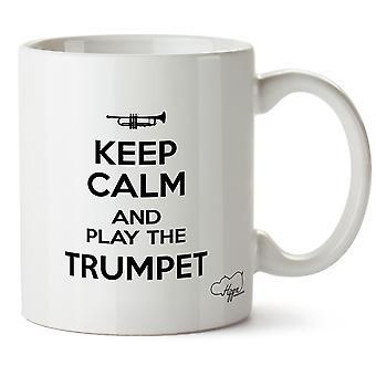 Hippowarehouse manter calma e peça a caneca impressa trompete xícara de cerâmica 10oz