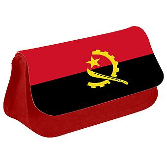 Angola Flag Printed Design Pencil Case for Stationary/Cosmetic - 0005 (Red) by i-Tronixs