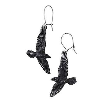Alchemy Gothic Black Raven Drop Ohrringe