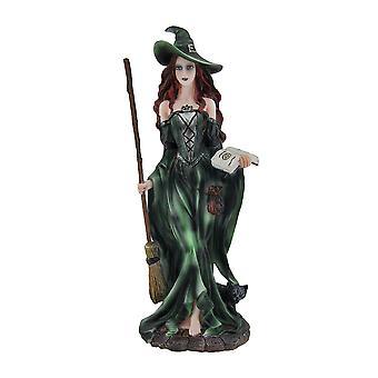Strega verde e Black Cat Walking w/scopa e statua del libro degli incantesimi