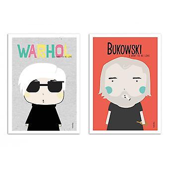 2 Art-Poster - Wahrol und Bukowski - Ninasilla