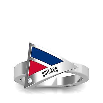 Chicago Cubs indgraveret Sterling Sølv Diamant geometriske ring i blå og rød
