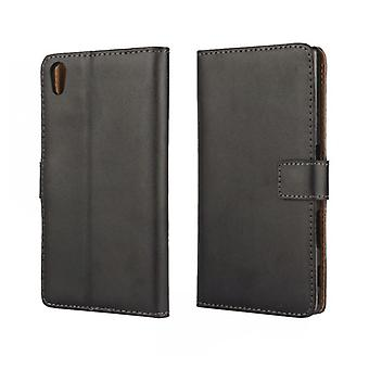 Wallet Case Sony Xperia Z5, genuine leather, black