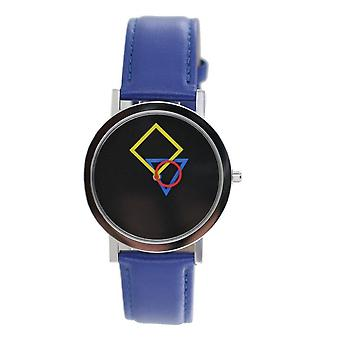 Aristo Bauhaus ladies watch stainless steel 4D86B leather blue