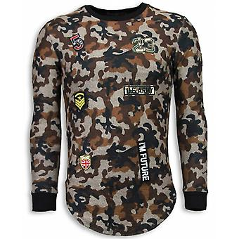 23th US Army Camouflage Shirt-Long Fit Sweatshirt-Brown
