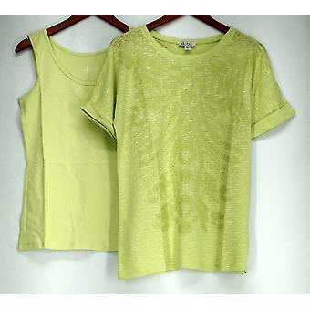 Studio von Denim & Co. Top gefesselt Dolman Sleeve Top & Tank Lime Grün A274911