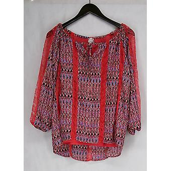 """Hot in Hollywood Maya"""" Blouse w/ Lace Detail Multi-Color Top Womens"""