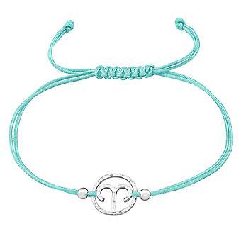 Aries Zodiac Sign - 925 Sterling Silver + Nylon Cord Corded Bracelets - W39001x