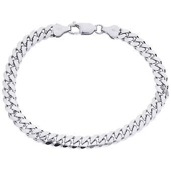 Sterling 925 Silver Tank Chain Bracelet - MIAMI CURB 6mm
