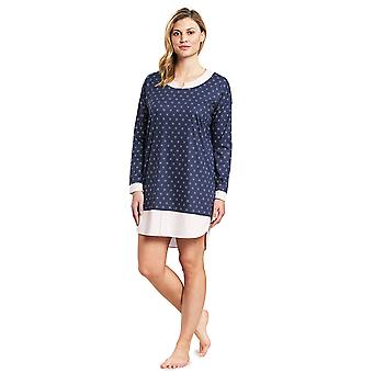 Féraud 3191018-14706 Dames's High Class Blue Minimal Print Cotton Sleep Shirt Nighty Nightshirt