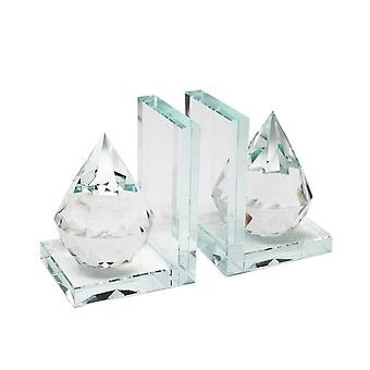 Beautiful natural crystal diamond bookends, clear, set of 2