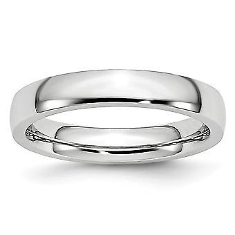 Kobolt krom halva rundan Engravable polerad 4mm Band Ring - Ring storlek: 7-13