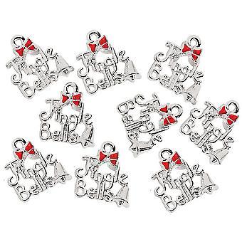 12 «jingle Bells» серебро металл кулон шармы для взрослых рождественских ремесел