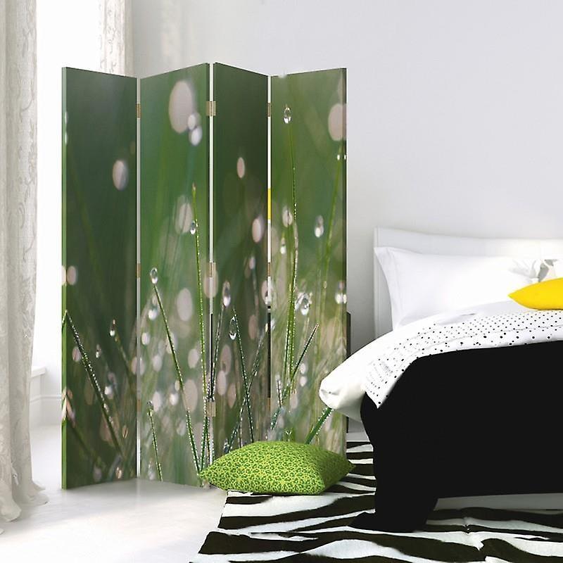 Diviseur de chambre, 4 panneaux, toile, gouttes de rosée sur l'herbe