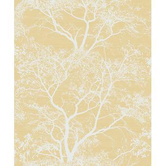 Whispering Trees Wallpaper Yellow White Glitter Textured Sparkle Forest Holden