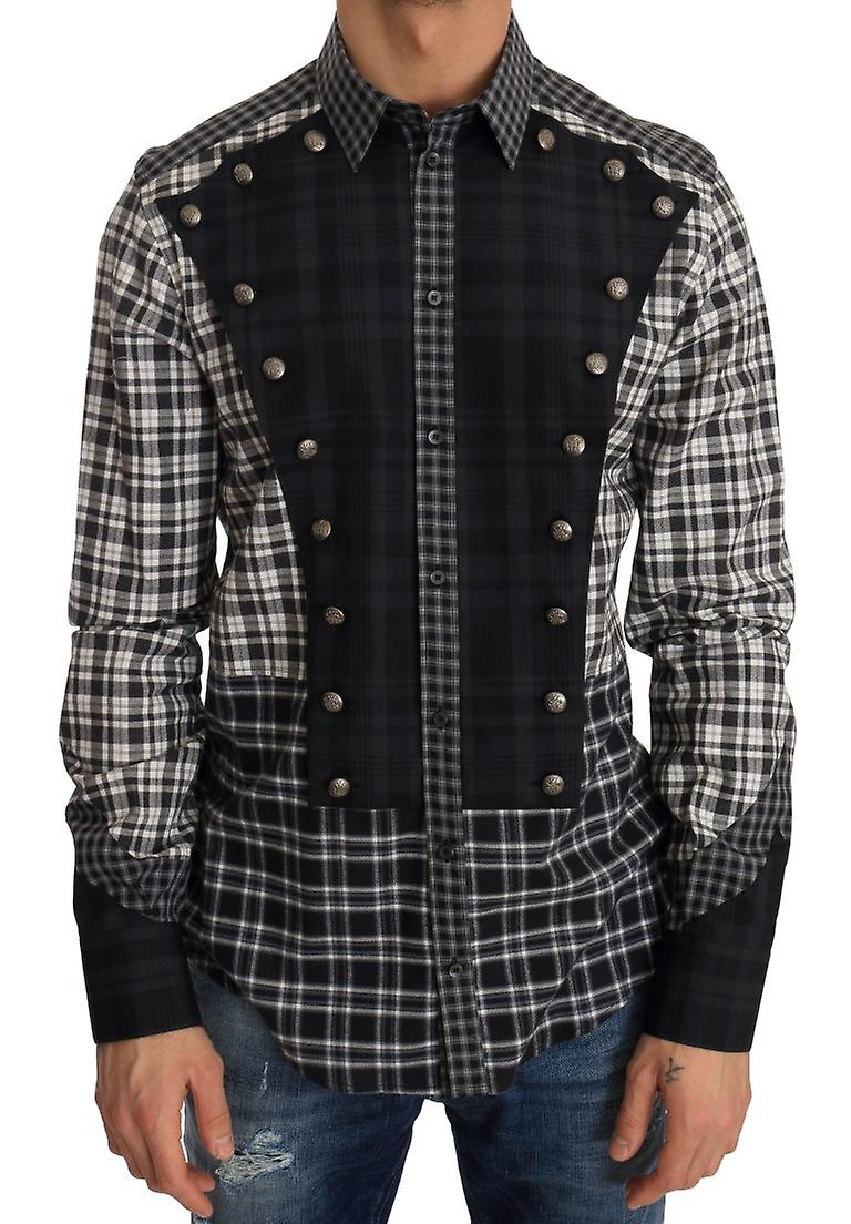Multicolor Check Cotton Slim Fit Shirt Studded Front Panel