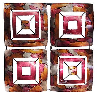 4-Panel Square Metal Wall Decor - Metal, Lacquered Burgundy, Copper And Brown
