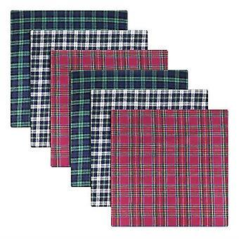 Mens/Gentlemens Zakdoeken 100% Cotton Blue, Groen & Rood Tartan Design