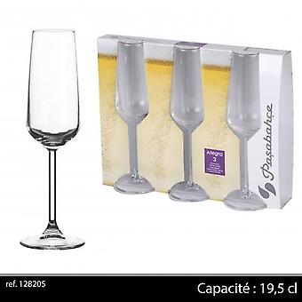 Pasabahce 3Pk Allegra Champagne  Glasses 19,5Cl
