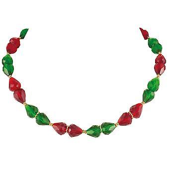 Eternal Collection hienostuneisuuden metsän vihreä ja Ruby punainen Crystal kulta sävy kaula koru