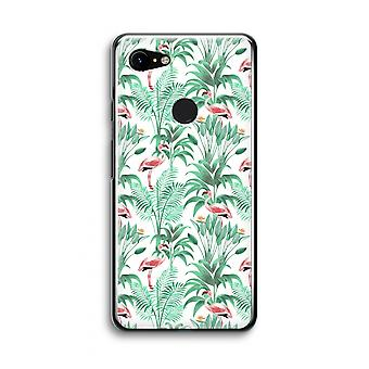 Google Pixel 3 Transparent Case (Soft) - Flamingo leaves
