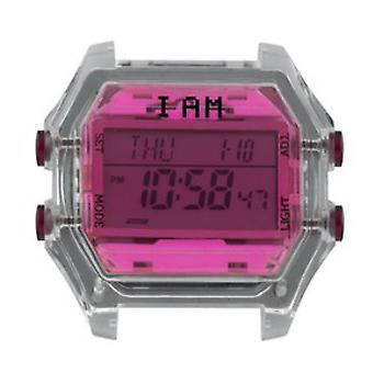 Watch I Am The Watch IAM-009 - Bo tier Translucent Glass Fushia and Burgundy Buttons / Horn 18 mm Set