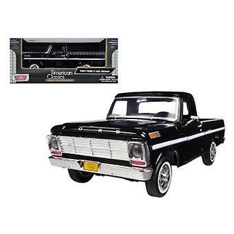 1969 Ford F-100 Pickup Truck Black 1/24 Diecast Modell von Motormax