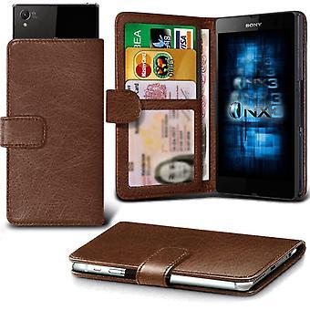 ONX3 Sony Xperia Z5 / Xperia Z5 dobbelt læder Universal foråret klemme tegnebog tilfældet med kortholderen Slot og pengesedler lomme-brun