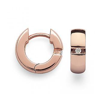 Bastian Inverun Women's 925/- Creole rose gold plated polished diamond 0.04ct 26030