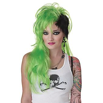 Smash Punk Green Black 80s Rocker Rock Women Costume Wig
