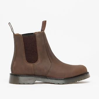 Grafters Ronald Unisex Plain Air Cushion Sole Chelsea Boots Oily Brown