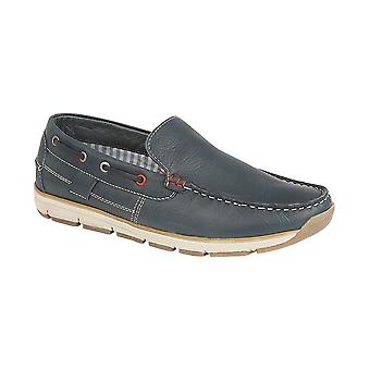 Roamers Navy Leather Slip On Apron Tab Moccasin Leisure Shoe