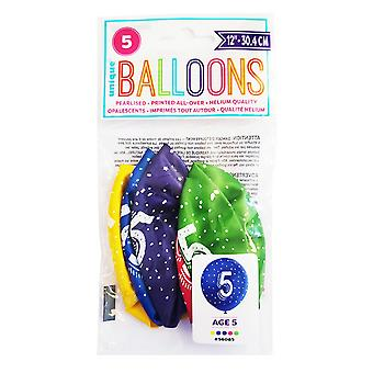 Unique Party Age 5 Pearlised Latex Balloons (5 x Pack of 5)