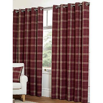 Belle Maison Lined Eyelet Curtains, Plaid Check