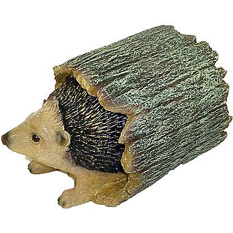 Cute Hedgehog Hiding in a Tree Trunk - Naturecraft - Ornament Garden Figurine