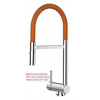Single-lever Kitchen Sink Mixer Orange Folding Spout Only 6 Cm And 2 Jets Spray Shower - Handle On Left Side - 461
