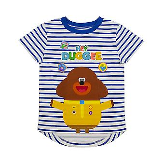Hey Duggee Character Floppy Ears Boy's Blue & White Striped T-Shirt Kids Tee