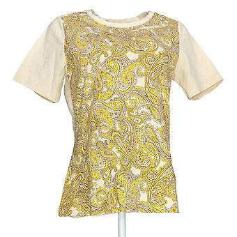 Denim & Co. Women's Top Paisley Front Knit W/ Solid Back Yellow A275246